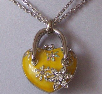 YELLOW FLOWER CRYSTAL HEART LOCKET CHARM NECKLACE SET