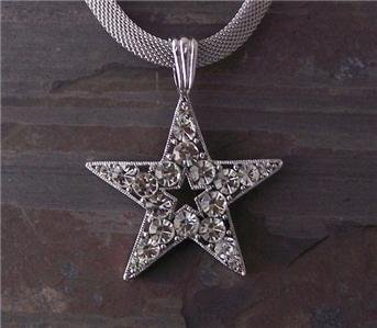 NEW WESTERN COWGIRL TEXAS STAR CLEAR CRYSTAL NECKLACE