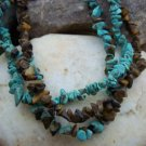 NEW BROWN TURQUOISE WESTERN NATURAL NUGGET NECKLACE SET