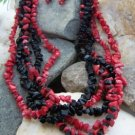 NEW RED BLACK 5 ROW WESTERN NATURAL NUGGET NECKLACE SET