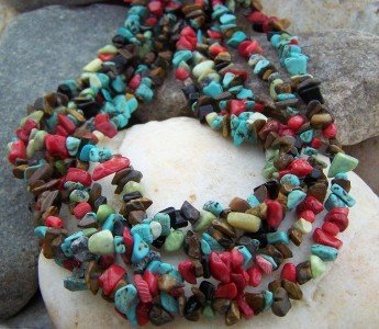 NEW MULTI FIVE ROW WESTERN NATURAL NUGGET NECKLACE SET