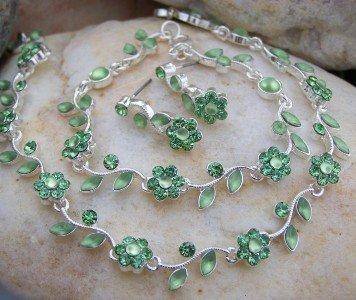 NEW 3 PIECE GREEN CZECH CRYSTAL FLOWER BRIDE BRIDAL SET