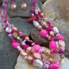 NEW BOHO PINK WESTERN FAUX PEARL NUGGET NECKLACE SET