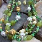 NEW BOHO GREEN WESTERN FAUX PEARL NUGGET NECKLACE SET