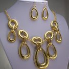 CHUNKY GOLD P TEARDROP BIB STATEMENT NECKLACE SET