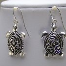 WESTERN FILIGREE SILVER P TURTLE TORTOISE EARRINGS