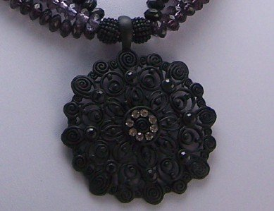 CHUNKY BLACK ANTIQUE LOOK CRYSTAL BAKELITE NECKLACE SET