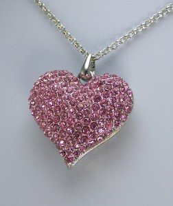 VALENTINES DAY PINK CRYSTAL 3D LOVE HEART NECKLACE