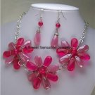 PINK Fuchsia MAGENTA FLOWER FLORAL GLASS NECKLACE SET