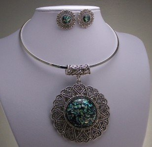 CHUNKY ANTIQUE STYLE CIRCLE CRYSTAL CHOKER NECKLACE SET