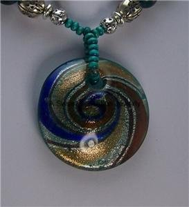 BLUE BROWN CIRCLE MURANO GLASS LAMPWORK NECKLACE SET