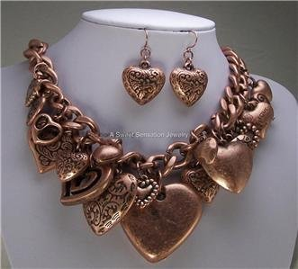COPPER TONE CHUNKY HEART LOVE 3D LAYERED VALENTINES NECKLACE SET