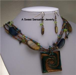 BLUE BROWN GREEN MURANO GLASS LAMPWORK NECKLACE SET