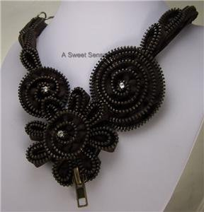 CHUNKY BROWN FLOWER FLORAL ZIPPER ART CRYSTAL NECKLACE