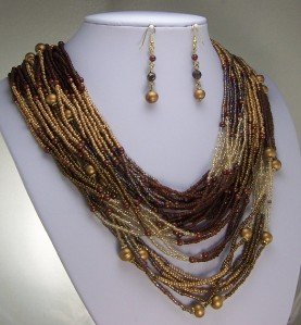 BROWN MULTISTRAND SEED BEAD CELEBRITY NECKLACE SET