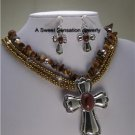 BROWN WESTERN RELIGIOUS TURQUOISE CROSS NECKLACE SET