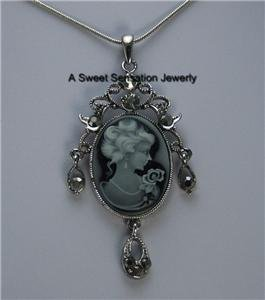 BLACK GRAY CRYSTAL LADY CAMEO CRYSTAL CHARM NECKLACE
