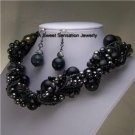 LAYERED BLACK GRAY TWISTED MULTISTRAND NECKLACE SET