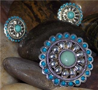 NEW BLUE TURQUOISE WESTERN COWGIRL CONCHO PENDANT SET