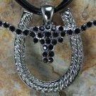 NEW BLACK WESTERN LONGHORN STEER BULL CRYSTAL PENDANT