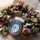 NEW BROWN MULTI WESTERN CRYSTAL NUGGET BRACELET WATCH