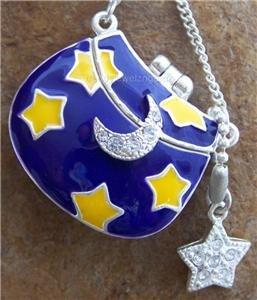 NEW BLUE MOON STAR STARS CRYSTAL PURSE BAG LOCKET SET