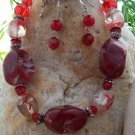 NEW RED CLEAR GLASS LAMPWORK BEAD EARRING NECKLACE SET