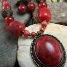 NEW LONG BOHO RED ANTIQUE STYLE WOOD BEAD NECKLACE SET