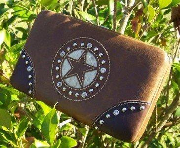 NEW BROWN WESTERN TEXAS STAR CRYSTAL CHECKBOOK WALLET
