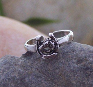 NEW 925 STERLING SILVER WESTERN HORSE PONY TOE RING