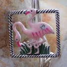 NEW PINK FLAMINGO CRYSTAL PURSE KEYCHAIN HANDBAG FINDER