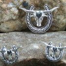 NEW WESTERN LONGHORN HORSESHOE NECKLACE PENDANT SET