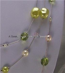 LONG LIME GREEN CREAM WHITE PEARL MULTI NECKLACE SET