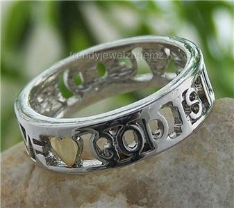 NEW RELIGIOUS GOD IS LOVE CHRISTIAN HEART RING SIZE 9