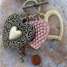 NEW ANTIQUE STYLE CHUNKY HEART LOVE CHARMS BRACELET