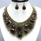 NEW BROWN TOPAZ RHINESTONE BIB STATEMENT NECKLACE SET