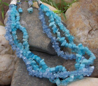 NEW BABY BLUE WESTERN NUGGET NATURAL STONE NECKLACE SET