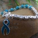 NEW BLUE RIBBON OVARIAN CANCER AWARENESS BRACELET
