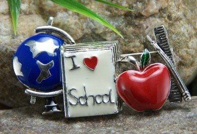 NEW TEACHERS STUDENTS I LOVE SCHOOL PTA GLOBE BROOCH