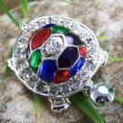 NEW ESTATE LOOK AUSTRIAN CRYSTAL TURTLE TORTOISE BROOCH
