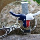 NEW WESTERN TEXAS LONGHORN BULL PURSE KEYCHAIN FINDER