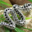 NEW BLACK REPTILE SNAKE 64 AUSTRIAN CRYSTAL BROOCH PIN