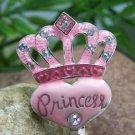Princess Pink Silver Tone Handbag Purse Hook Caddy Holder