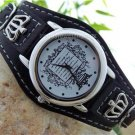 NEW BLACK  CROWN LEATHER BELT BUCKLE WATCH