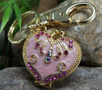 NEW PINK ANTIQUE STYLE HEART LOCKET CHARM KEYCHAIN