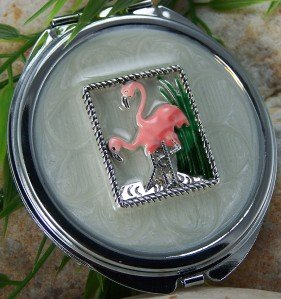 NEW PINK FLAMINGO BIRD DOUBLE SIDED LACQUER MIRROR