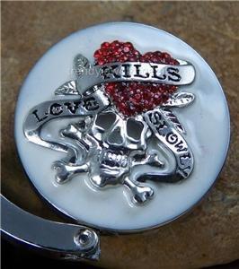White Love Kills Skeleton Heart Crystal Silver Tone Handbag Purse Hook Caddy Holder