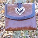 NEW BROWN WESTERN HEART PURSE WALLET