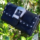 NEW BLACK WESTERN COWGIRL TOOLED RHINESTONE BELT WALLET