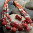 NEW BOHO RED SALMON ORANGE WESTERN MULTI NECKLACE SET